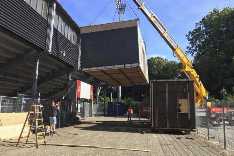 Pavilloner opsat på Vejle Stadion