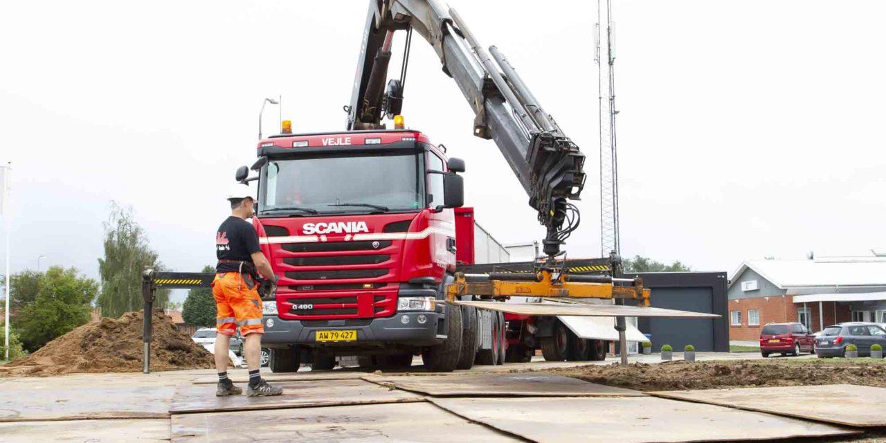 Udlejning af køreplader til byggeprojekt i Vinding